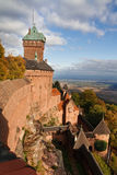 Castle of Haut-Koenigsbourg, Alsace, France. Dramatic Cloudscape. Warm Light Stock Photo