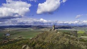 Free Castle Hazmburk. Ruines Of Hazmburk Castle On Top Of Mountain Peak Of Ceske Stredohori Range.  Medieval Castle With Views On Czech Stock Photo - 166199890