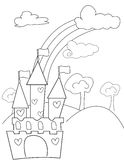 Castle with hearts coloring page Stock Photos