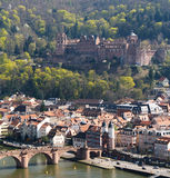 Castle of Heidelberg and a bridge Alte Brucke Stock Photography