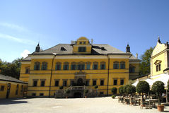The Castle of Hellbrunn in Salzburg in Austria with its many `trick` fountains Stock Photography