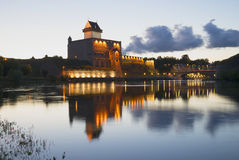 The Castle Hermann  and the Narva river during the white nights Royalty Free Stock Images