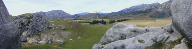 Castle Hill. Panoramica look from Castle Hill down, New Zealand Stock Images