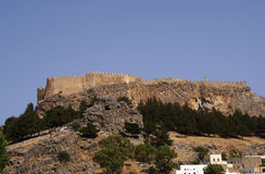 Castle on the hill. Greece,Rhodes,Lindos royalty free stock photography