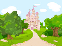 Castle on hill. Beautiful fairytale castle on hill vector illustration