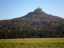 Castle on the Hill. A stunning view of Hohenzollern Castle in Germany stock photography
