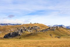 Castle Hill in Arthurs Pass, New Zealand. Limestone outcrops of Castle Hill in Arthurs Pass, South Island of New Zealand. This is a popular climbing venue Royalty Free Stock Photography
