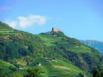 Castle on the hill in Bolzano, Italy.  stock photo