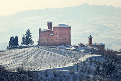 Castle on the hill covered with snow. Royalty Free Stock Image