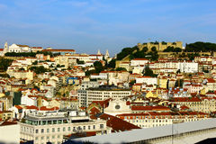 The Castle hill and the downtown, Lisbon, Portugal Royalty Free Stock Photography