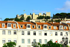 The Castle hill and the downtown, Lisbon, Portugal Stock Image