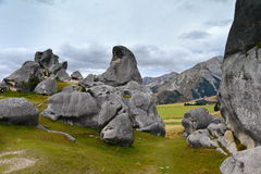 Castle Hill, famous for its giant limestone rock formations in New Zealand Royalty Free Stock Image