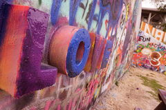 Castle Hill Graffiti Wall. The graffiti wall in Austin Texas is one of the many amazing tourist attractions for artist to express their art freely and safely Royalty Free Stock Photo
