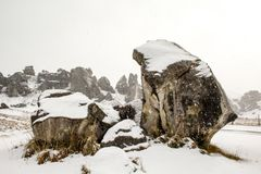 Castle Hill landscape covered in snow, South Island, New Zealand.  royalty free stock photography