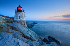 Castle Hill Lighthouse at dusk. Dusk view of the famous Castle Hill in Newport, Rhode Island royalty free stock photos