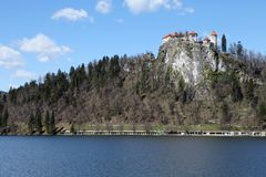 Castle on the hill near the Lake BLED in Slovenia in Eastern Eur Royalty Free Stock Photos
