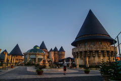 Castle on the hill. New amusement park in the French style in the Ba Na Royalty Free Stock Photography
