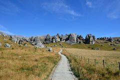 Castle Hill, New Zealand. Castle Hill is a location and a high country station in New Zealand's South Island. In this picture, it has a walkway to array of royalty free stock images