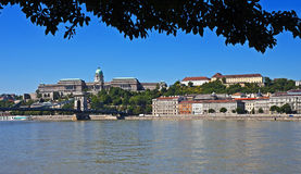 Castle Hill panorama, Budapest. Panorama of Castle Hill, the Szechenyi Chain Bridge, and the Danube River, Budapest, Hungary (World Heritage Site Royalty Free Stock Photos