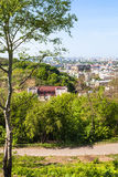 Castle Hill and Podil district in Kiev city. Travel to Ukraine - Zamkova Hora hill Castle Hill and Podil district in Kiev city in spring Royalty Free Stock Images