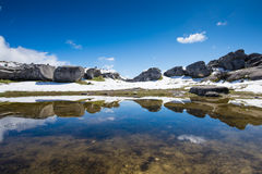 Castle hill reflection at Castle hill, Southern Alps, Stock Photos