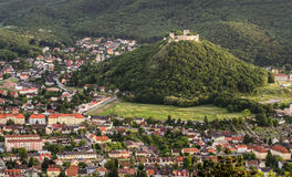 Castle on the Hill in the Town. Schlossberg - Castle on the Hill in the Town of Hainburg, Austria as seen from Braunsberg Hill stock images