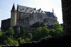 Castle on the hill. VIANDEN, LUXEMBOURG - CIRCA AUGUST 2016 Castle on the hill Royalty Free Stock Images