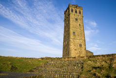 Castle Hill, Victoria Tower, Huddersfield. Castle Hill Tower in Huddersfield. Built as a memorial to Queen Victoria on the site of an ancient iron age fort stock photos