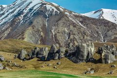 Castle Hill during winter time, South Island, New Zealand.  royalty free stock photo