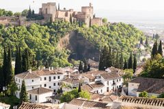 Castle on hillside, Granada, Spain. Houses and castle on hillside of Granada - Albaicin Albaizyn and Alhambra, Spain on sunny day Royalty Free Stock Image