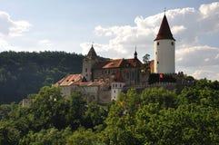 Castle at hilltop. View at Krivoklat castle. Castle is build at hilltop close to Prague Stock Photos