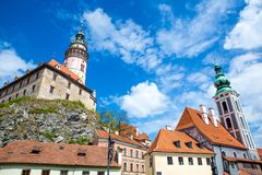 Castle and historic architectures in Krumlov. Famous castle in Cesky Krumlov with historic architectures Royalty Free Stock Image