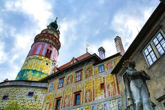 Castle and historic architectures in Krumlov. Famous castle in Cesky Krumlov with historic architectures Stock Photography