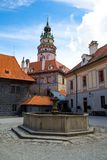 Castle and historic architectures in Krumlov. Famous castle in Cesky Krumlov with historic architectures Royalty Free Stock Images