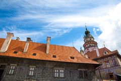 Castle and historic architectures in Krumlov. Famous castle in Cesky Krumlov with historic architectures Stock Photos