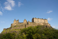 Castle of Historic Edinburgh. Edinburgh's landmark Castle overlooking the historic city below royalty free stock photo