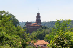 Castle at historic industrial town Crespi d'Adda near Bergamo, Lombardy Royalty Free Stock Photo