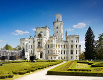Romantic Castle. White romantic Hluboka Castle, Czech Republic royalty free stock image