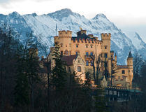 Castle Hohenschwangau. Mountains (German Alps) on the background.  Bavaria, Germany Royalty Free Stock Photography
