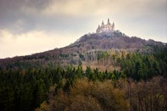 Castle Hohenzollern landscape near town of Hechingen Schwarzwald germany royalty free stock images