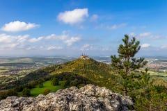 Castle Hohenzollern near Bisingen. The castle Hohenzollern seen from the Zollersteig in the swabian jura Stock Images