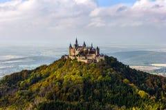 Castle Hohenzollern near Bisingen. The castle Hohenzollern seen from the Zollersteig in the swabian jura Royalty Free Stock Image