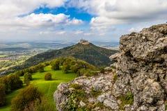 Castle Hohenzollern near Bisingen. The castle Hohenzollern seen from the Zollersteig in the swabian jura Stock Image