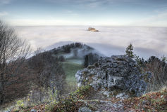 Castle Hohenzollern over the Clouds Royalty Free Stock Images