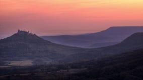 Castle Hohenzollern before Sunrise Stock Photography
