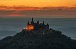 Castle Hohenzollern with view to the swabian alb.  Stock Photography