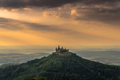 Castle Hohenzollern with view to the swabian alb Stock Image