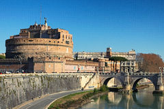 Castle of Holy Angel Castel Sant Angelo and Holy Angel Bridge over the Tiber River in Rome at sunny winter day. Rome. Italy.  stock images
