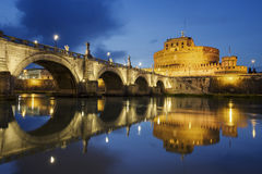 Castle of Holy Angel and Holy Angel Bridge over the Tiber River Stock Images