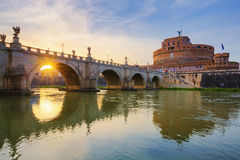 Castle of Holy Angel and Holy Angel Bridge over the Tiber River Stock Image